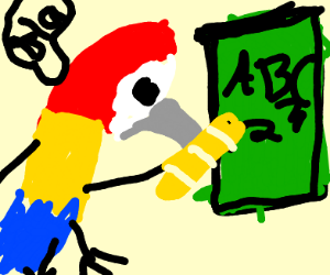 Parrot teaching with a baguette