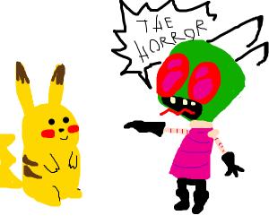 Alien terrified of Pikachu