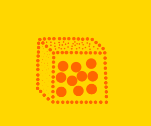 square made out orange dots