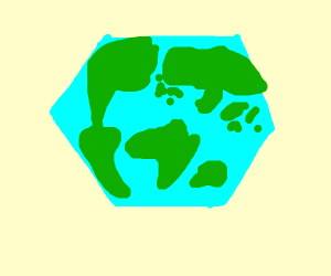 Earth but as a hexagon