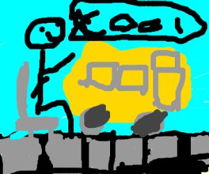 man in wheelchair loves buses