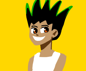 Spiky green haired kid