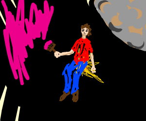 a wall painter sitting on a star