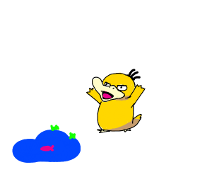 psyduck is angry about the small pond