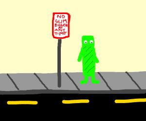 Street sign: NO Gum Boiler