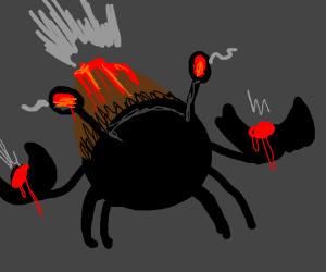 Ancient Crab with Volcano on Its Back
