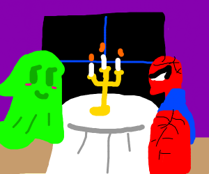 spiderman w/ mustache ona date w/ green ghost