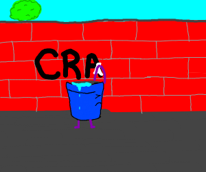A bucket removes racist vandalism