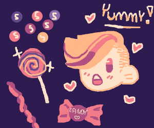 kid in love with sparkled candies