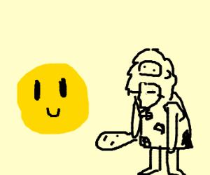 Caveman and a yellow emoji