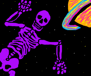 Purple Skelton in space