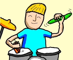 Playing a drum with food