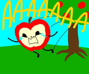 Screaming Apple being thrown from a tre