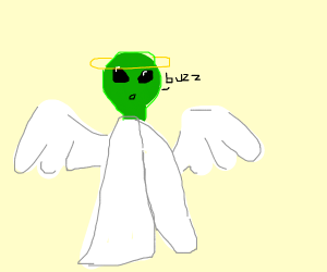 Angel with alien head that makes bee sounds