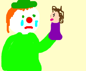 clown sheds tear for hand puppet