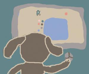 dog playing drawception