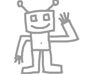 Cyborg waving hello.