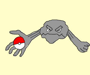 boulder pokemon about to catch a pokeball