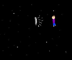 Man watching TV in space