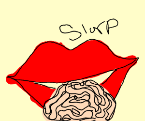 Giant lips sucking out a brain