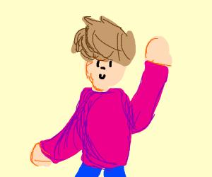 boy in a pink shirt