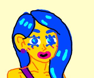 yellow cartoon girl with blue hair