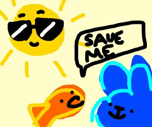 blue rabbit saves goldfish from cool sun