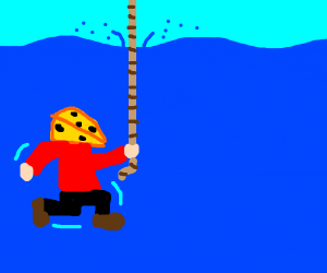 man underwater on a rope with a cheese head