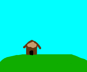 Small hut on a hill. hill in background
