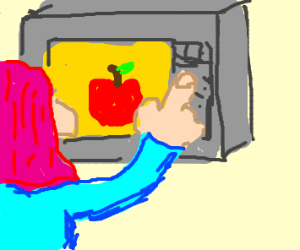 pinkhaired person cooking apple in microwave