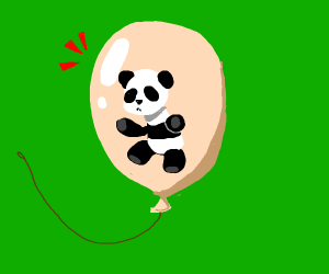 panda in a pink ballon