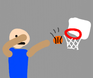 guy misses basketball shot and dabs