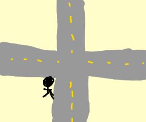 At a crossroad