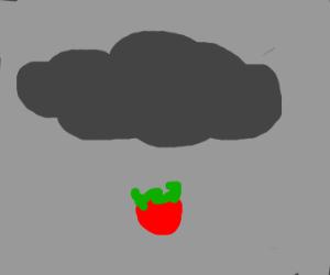 Cloud rains a single strawberry.
