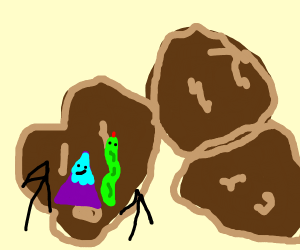 A mountain and snake climbing potatoes