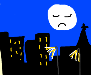 sad moon face above city night