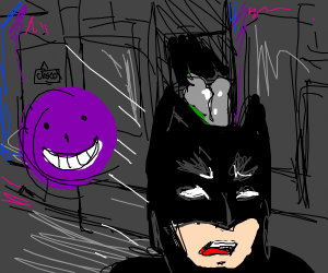 Batman running from happy purple smiley