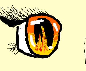 Yellow lens flare eyes woman
