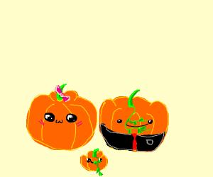 three cute pumpkins
