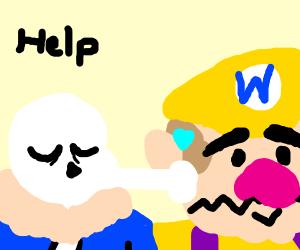 Sans Undertale kisses Wario