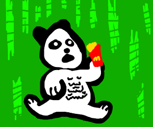 obese panda obliged to eat french fries