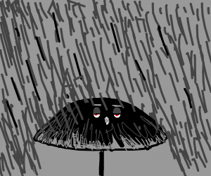 An umbrella yawning