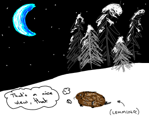 Lemming Admiring a blue crescent moon