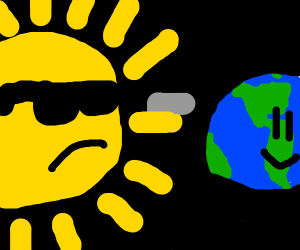 sun gets ready to oof earth