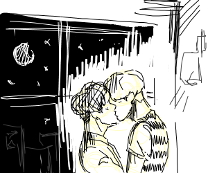 Couple kissing eachother in a night