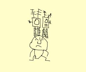 robots leg stand on the human