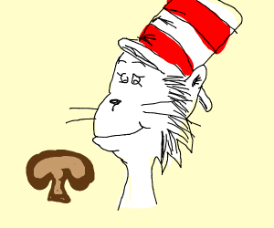 Cat In The Hat With a Mushroom