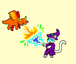 An epic fight between a dragon and a whiteCat