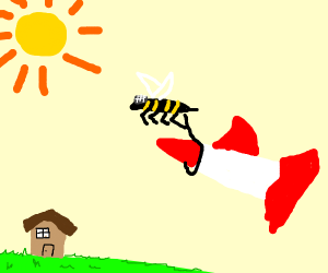 Giant mosquito bee flying carrying a rocket