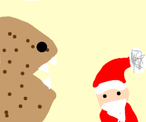A cookie eating Santa